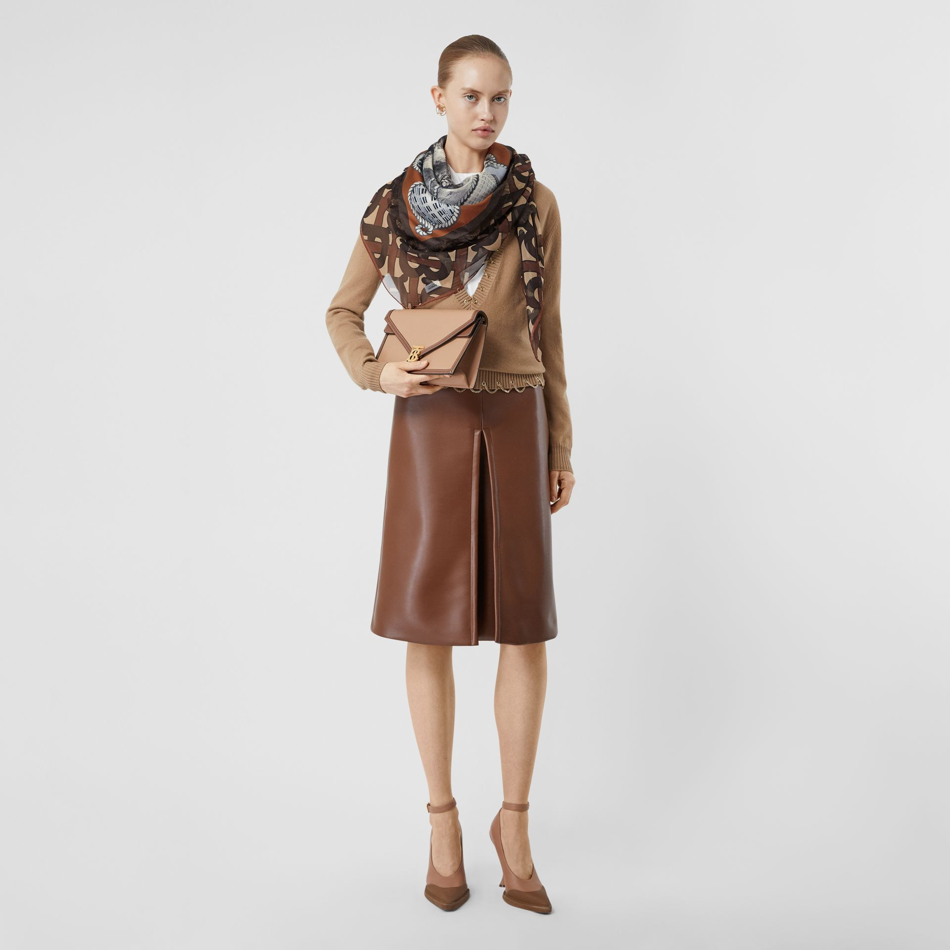 Rigging and Monogram Print Silk Large Square Scarf in Dark Mocha | Burberry - gallery image 5