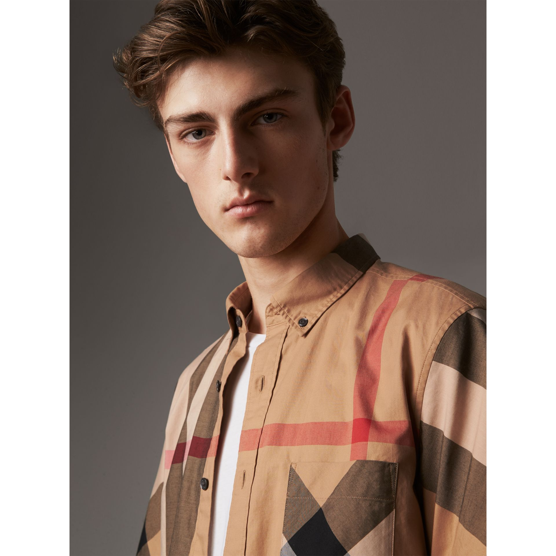 Short-sleeve Check Stretch Cotton Blend Shirt in Camel - Men | Burberry Singapore - gallery image 1