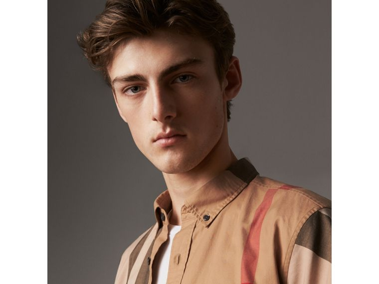 Short-sleeve Check Stretch Cotton Blend Shirt in Camel - Men | Burberry Singapore - cell image 1