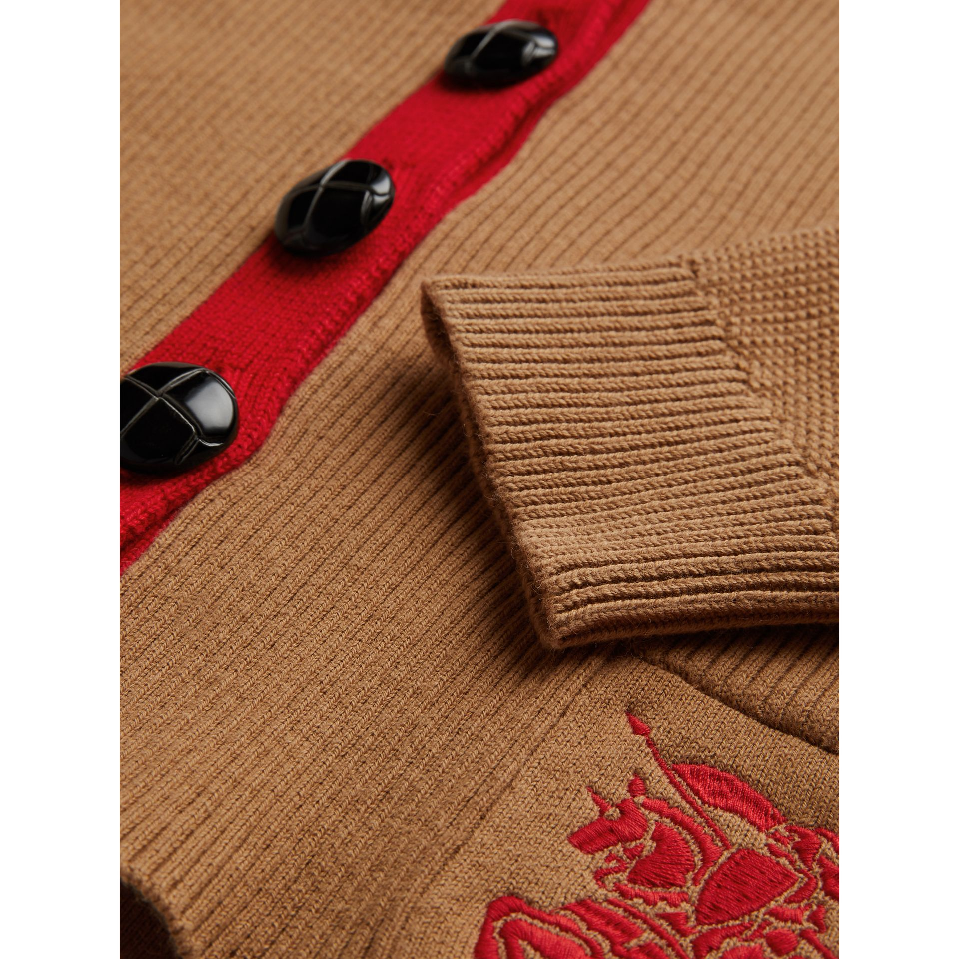 Cardigan en coton bicolore (Camel) | Burberry - photo de la galerie 1
