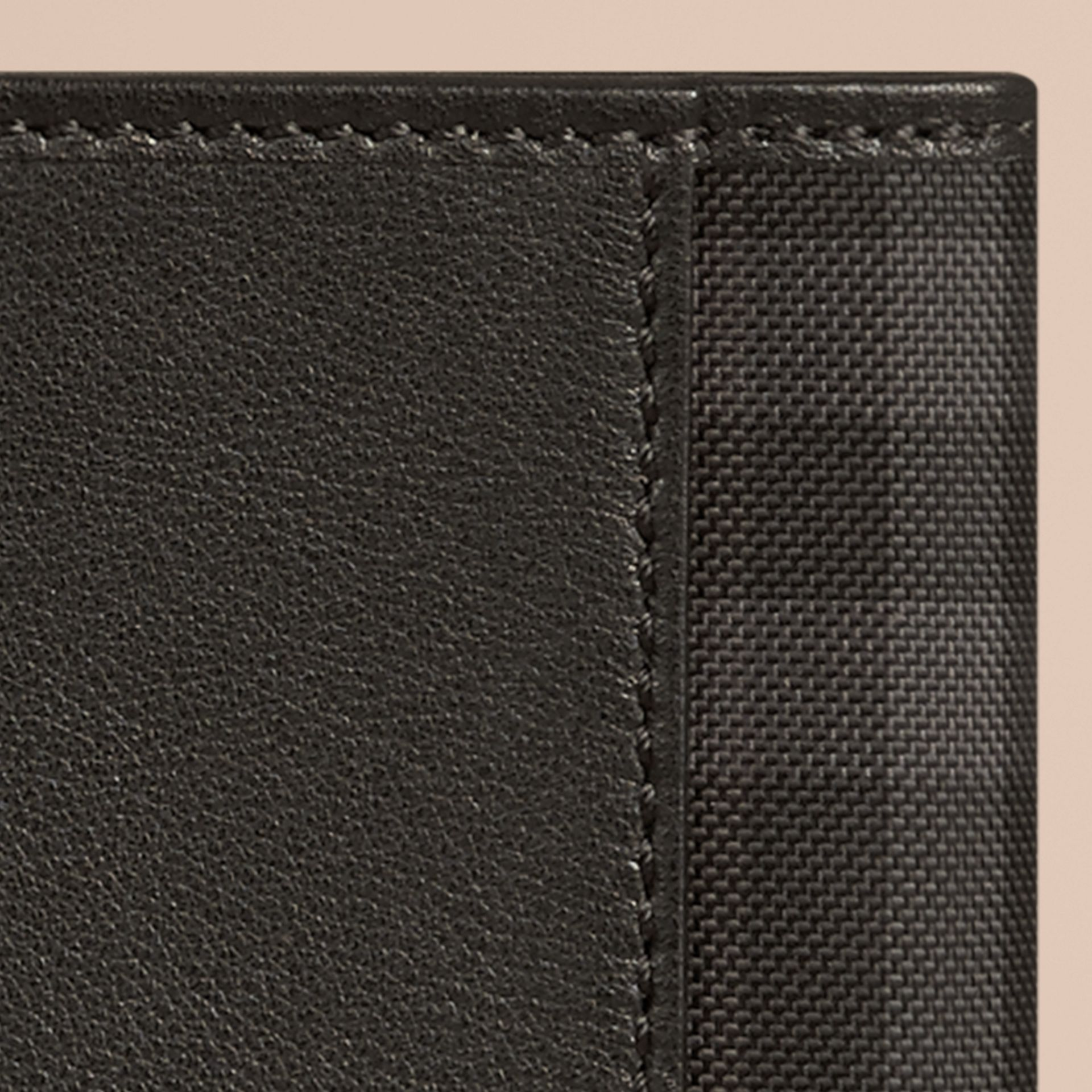 Black Check Detail Leather Passport Cover Black - gallery image 2
