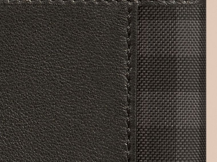 Black Check Detail Leather Passport Cover Black - cell image 1