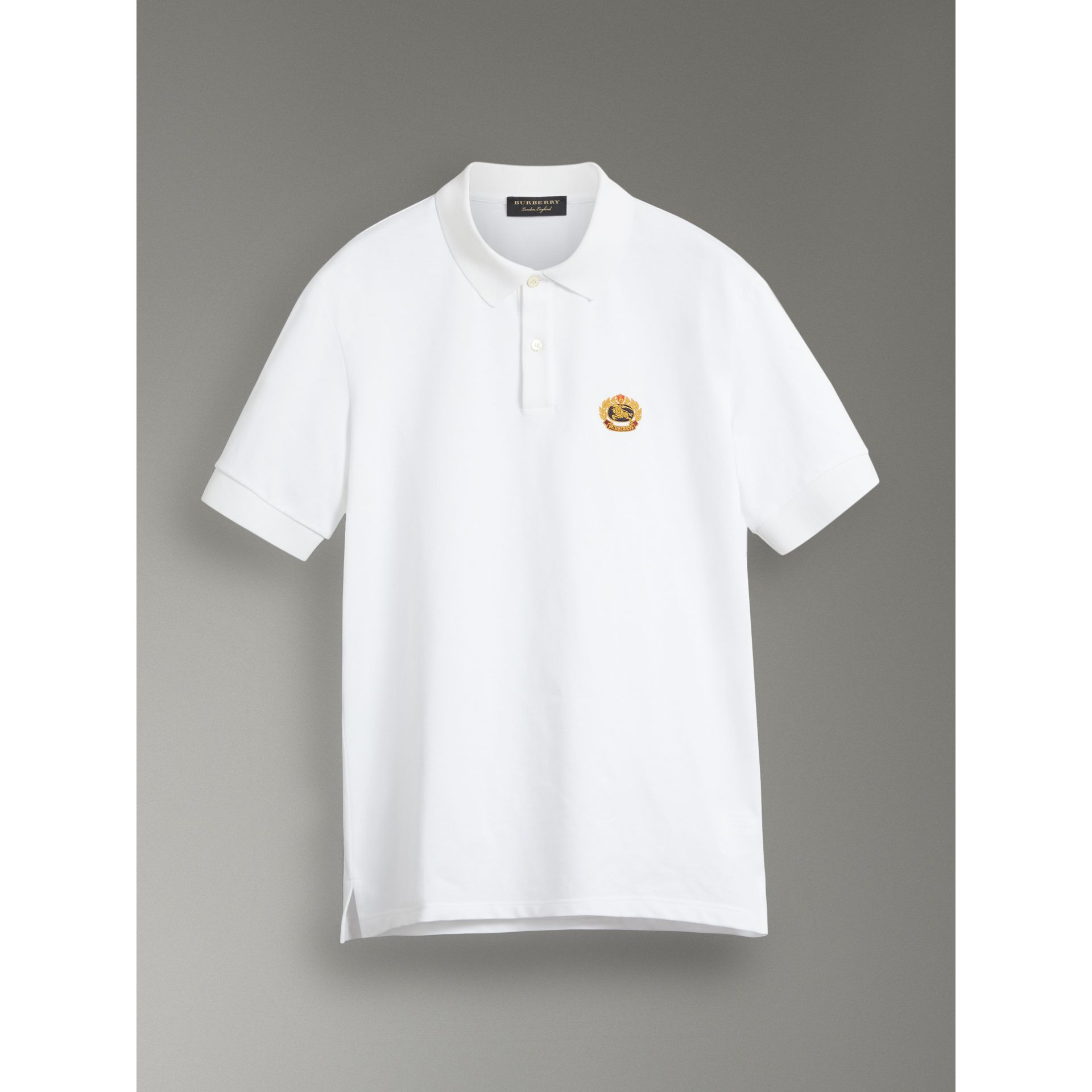 Reissued Cotton Polo Shirt in White - Women | Burberry United Kingdom - gallery image 3