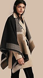 Poncho plaid en laine et cachemire à motif check