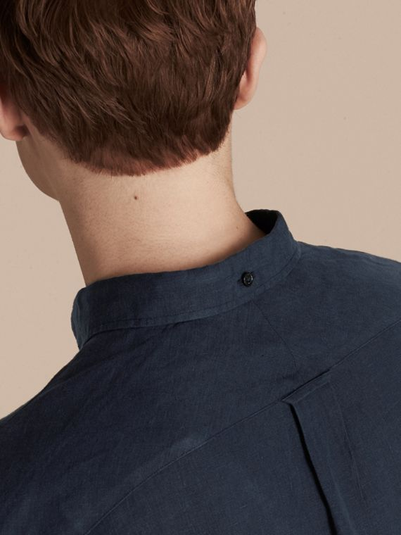 Navy Button-down Collar Linen Shirt Navy - cell image 3
