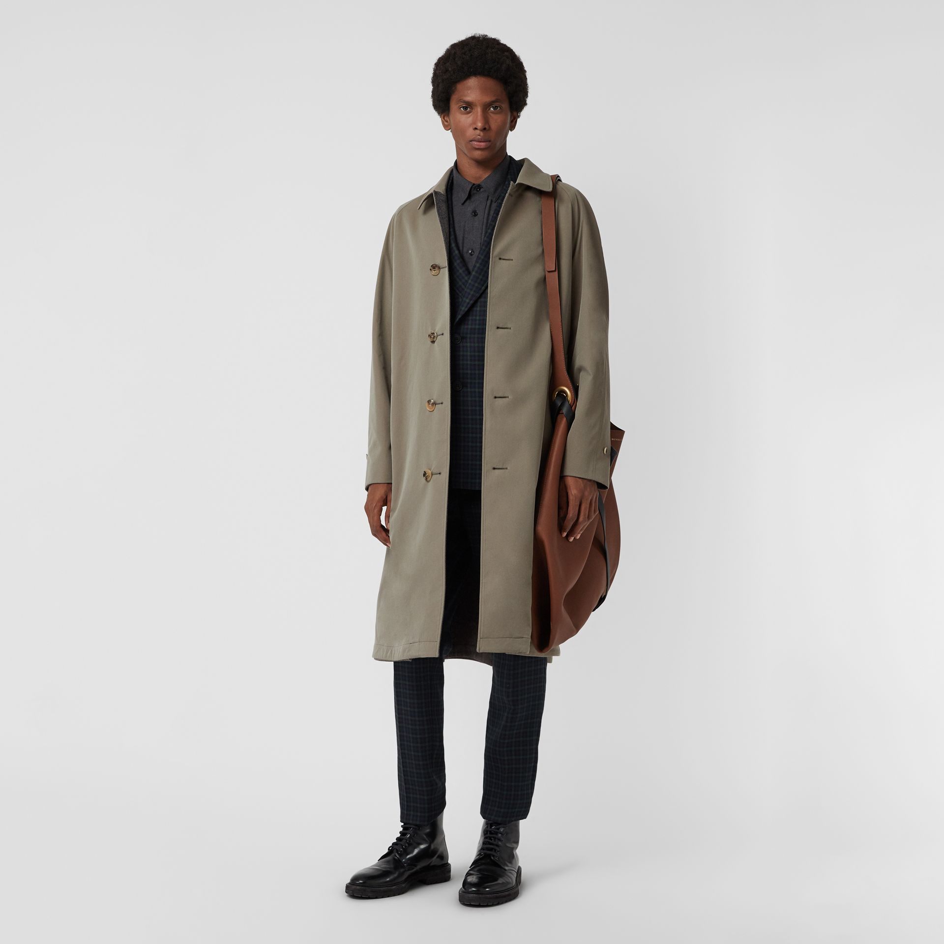 Reversible Tropical Gabardine and Wool Car Coat in Chalk Green - Men | Burberry United Kingdom - gallery image 0
