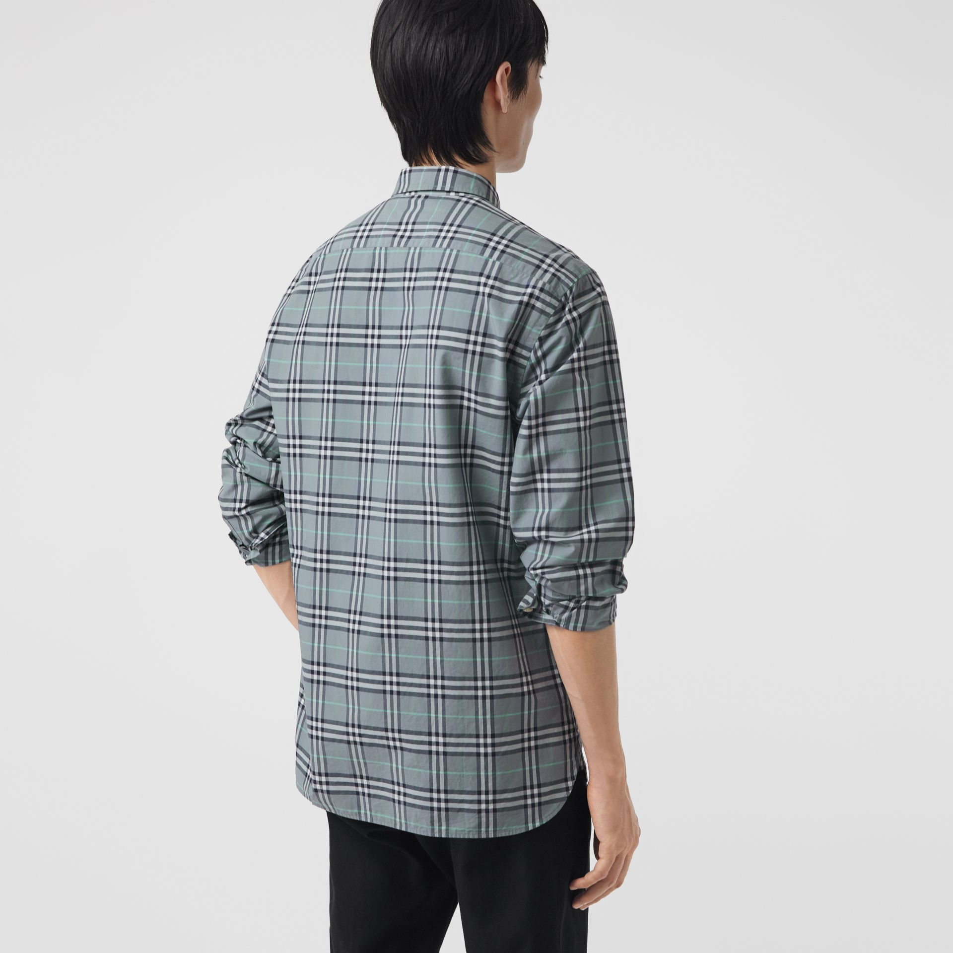 Check Cotton Shirt in Stone Blue - Men | Burberry Hong Kong - gallery image 2