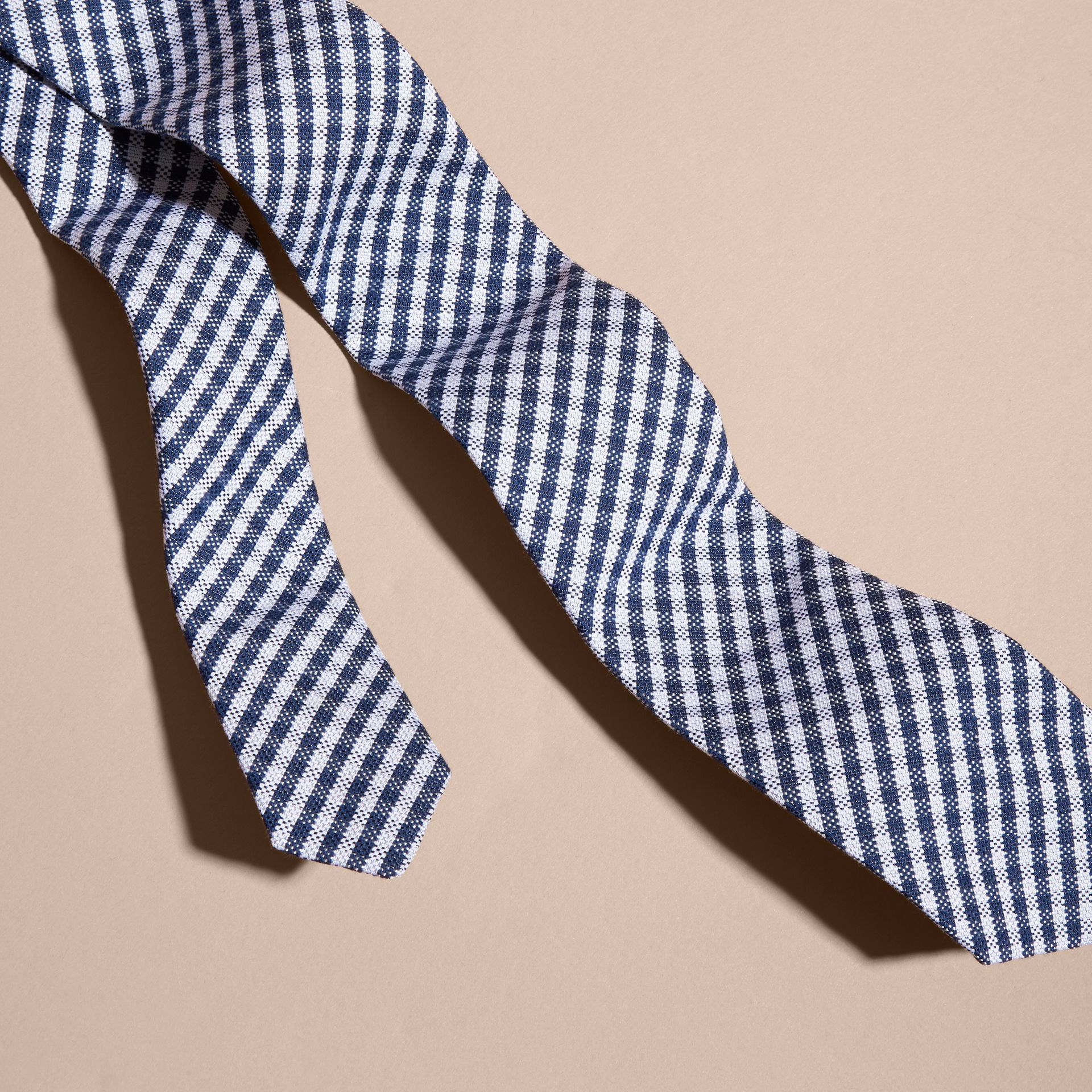 Brilliant blue Slim Cut Cotton Silk Gingham Tie Brilliant Blue - gallery image 2
