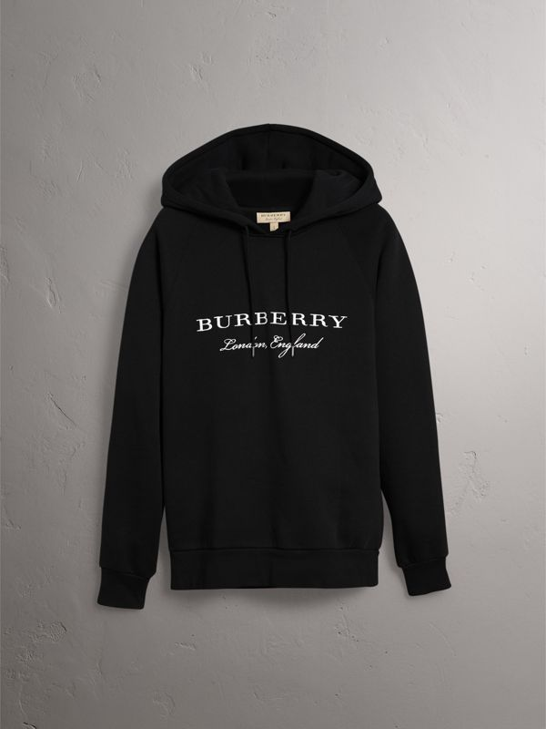 Embroidered Hooded Sweatshirt in Black - Men | Burberry - cell image 3