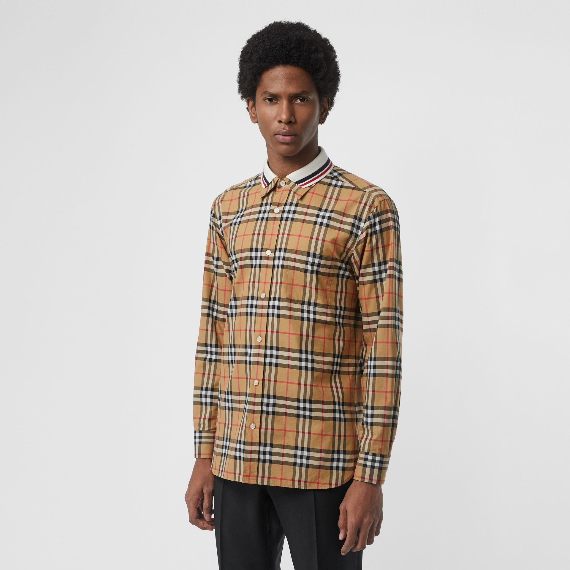 Knit Collar Vintage Check Cotton Shirt in Antique Yellow - Men | Burberry Canada - gallery image 0