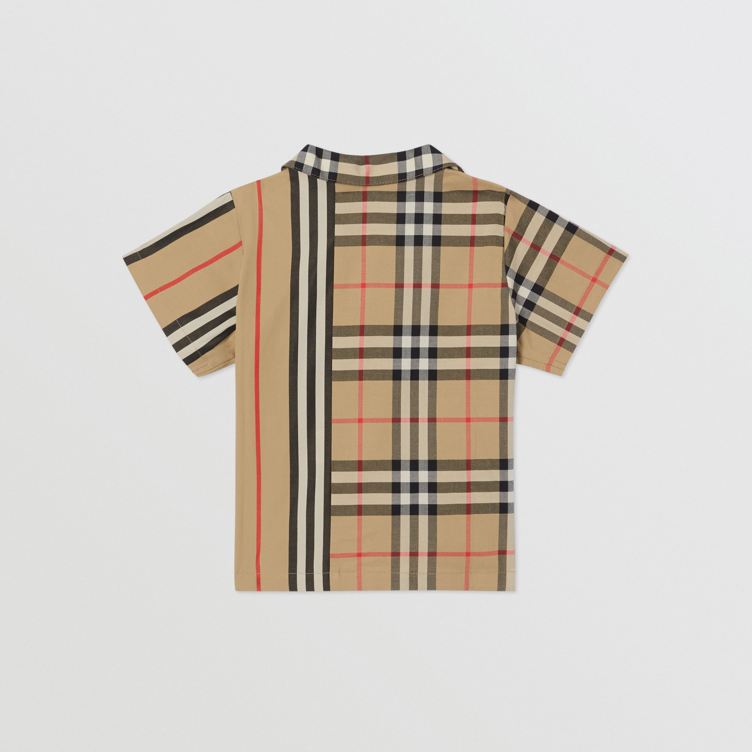 Short-sleeve Vintage Check and Icon Stripe Cotton Shirt in Archive Beige - Children | Burberry - 4