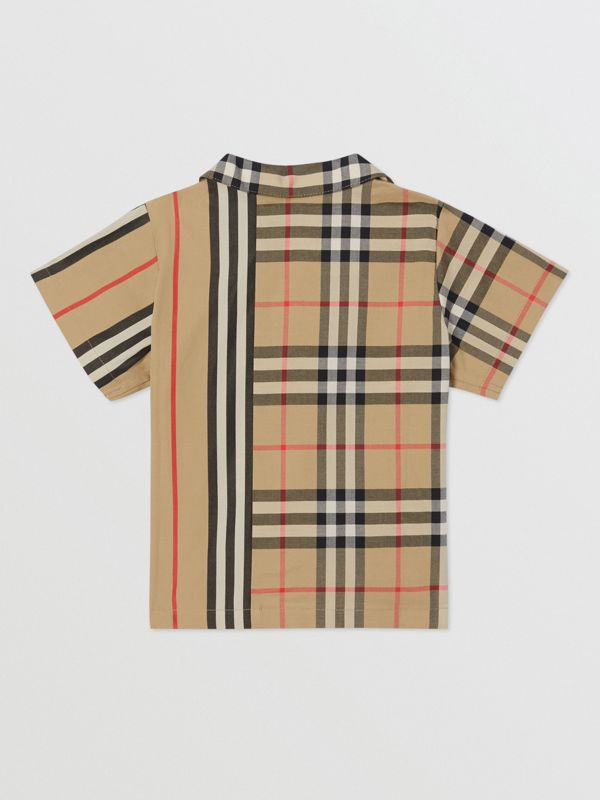 Short-sleeve Vintage Check and Icon Stripe Cotton Shirt in Archive Beige - Children | Burberry United States - cell image 3
