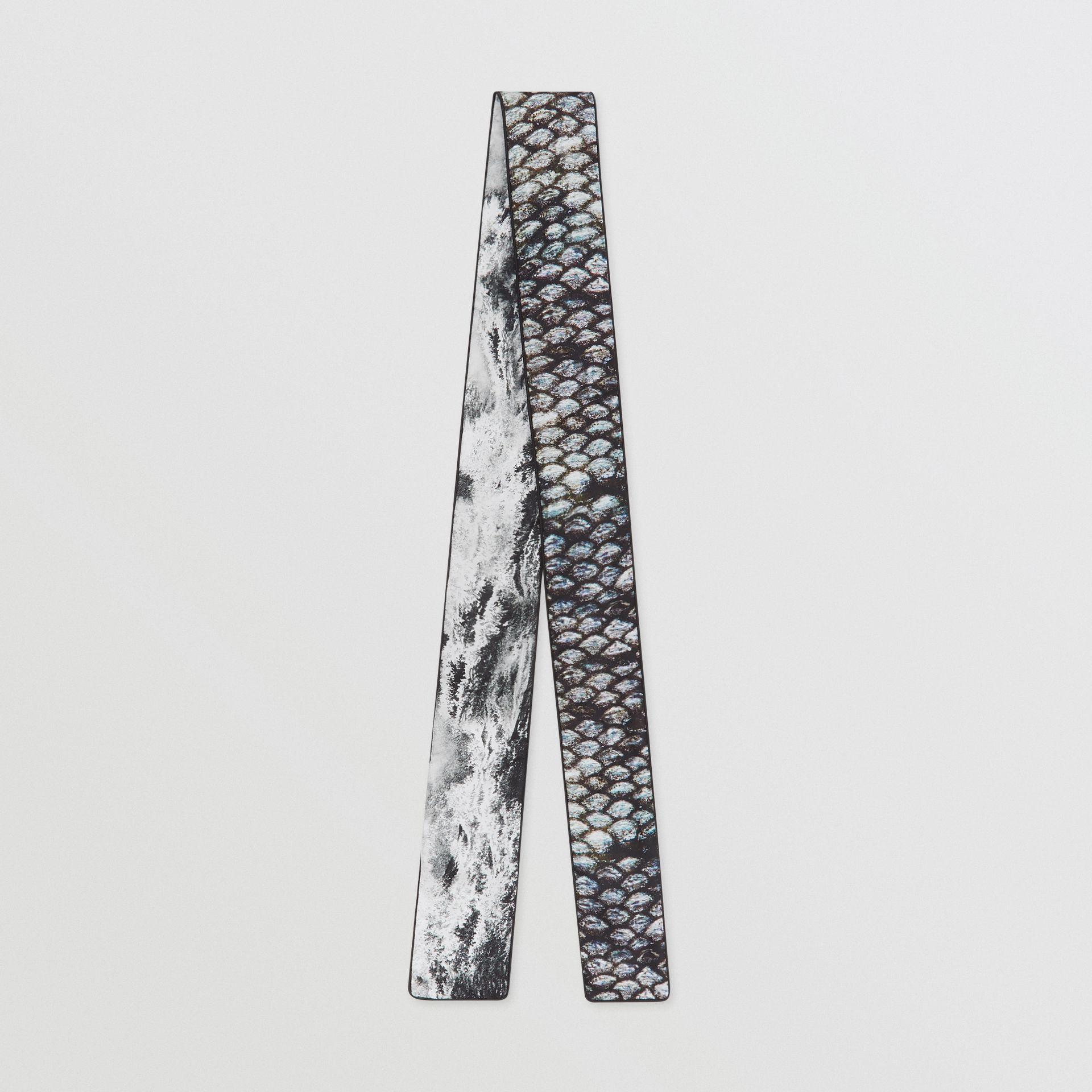 Sea and Fish-scale Print Silk Skinny Scarf in Grey | Burberry United States - gallery image 0