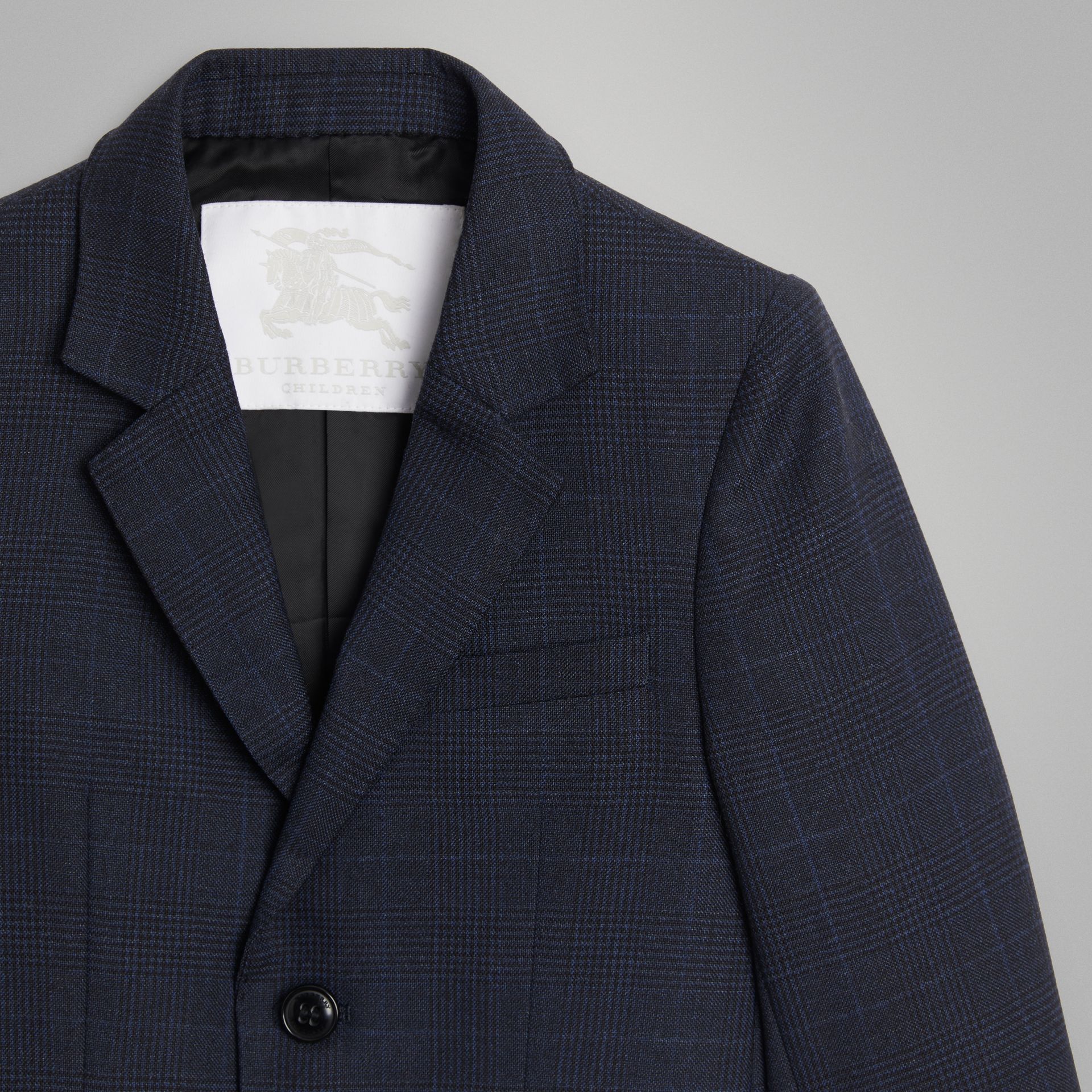 Prince of Wales Check Wool Blazer in Bright Navy | Burberry - gallery image 4