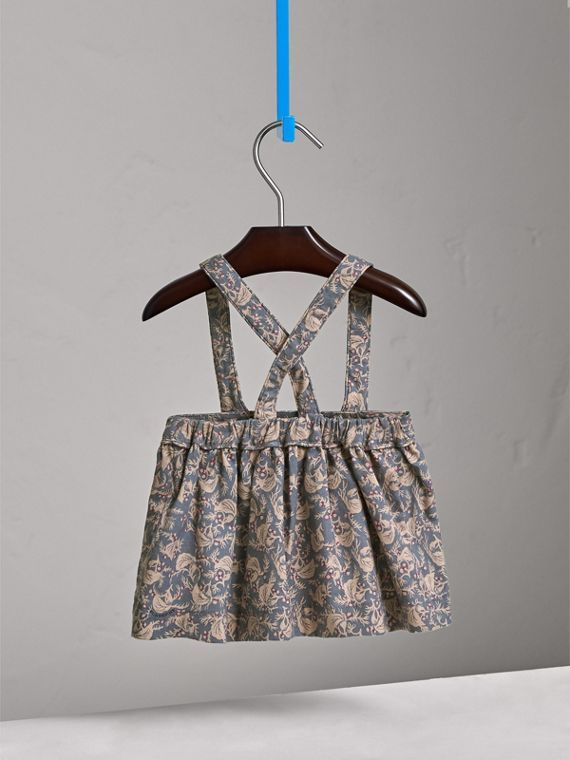 Leaf Print Cotton Blend Pinafore Skirt | Burberry - cell image 3