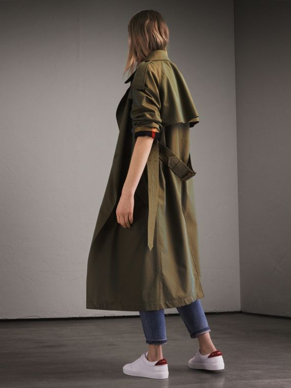 Tropical Gabardine Trench Coat in Bright Olive - Women | Burberry Australia - cell image 2