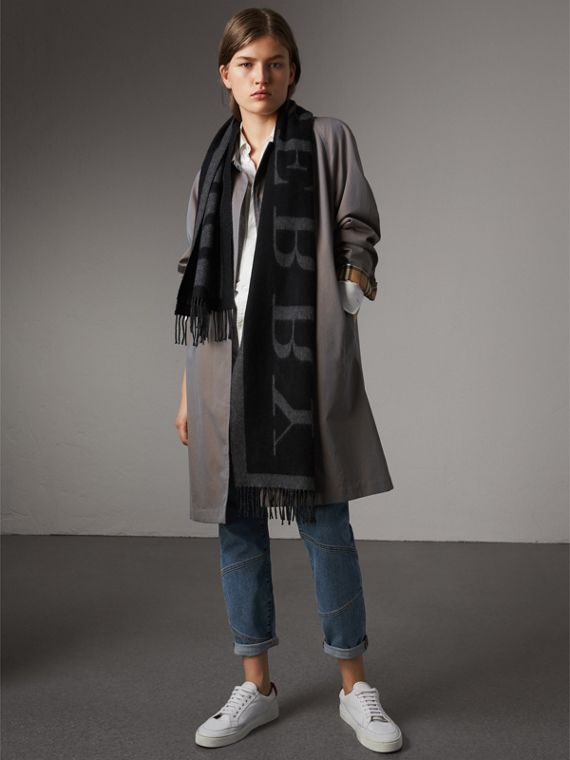 Emblem Print Cashmere Scarf in Black | Burberry Australia - cell image 2