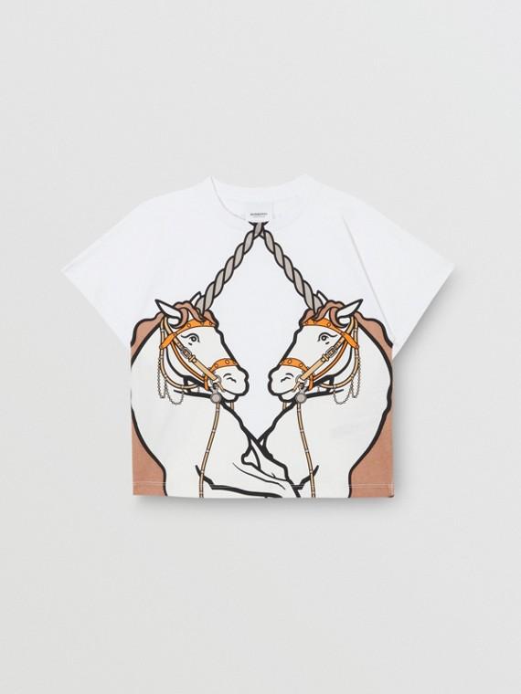 T-shirt en coton à imprimé licorne (Blanc)