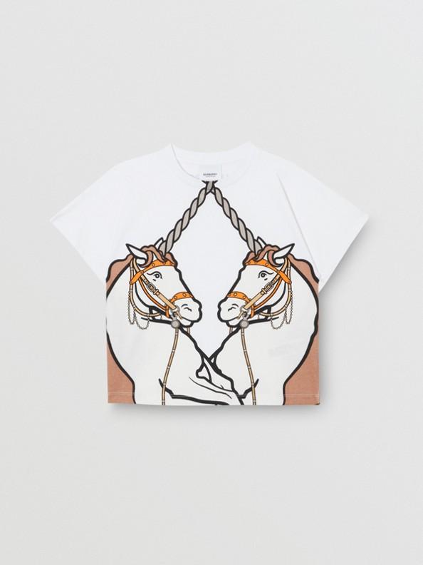 Unicorn Print Cotton T-shirt in White