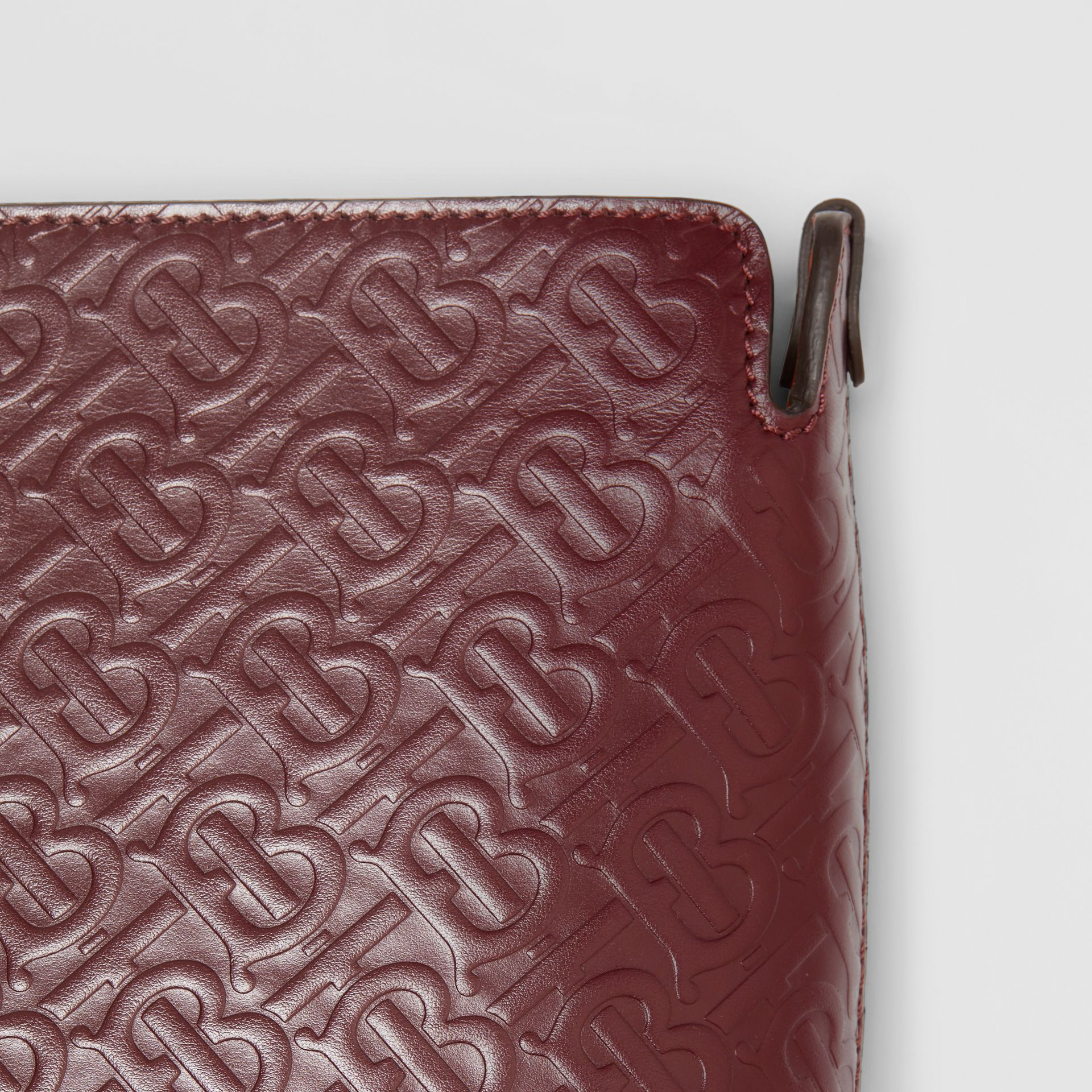 Medium Monogram Leather Clutch in Oxblood - Women | Burberry - gallery image 1