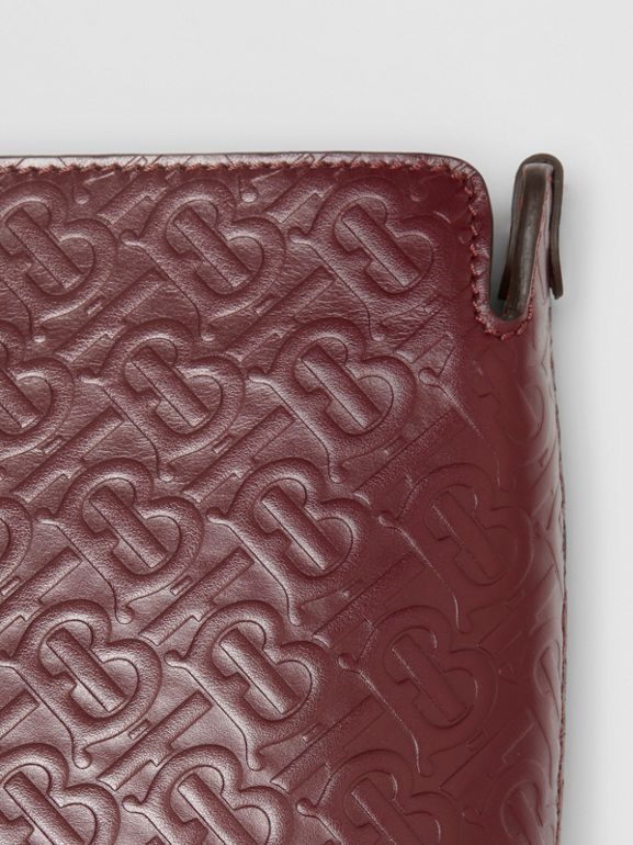 Medium Monogram Leather Clutch in Oxblood - Women | Burberry - cell image 1