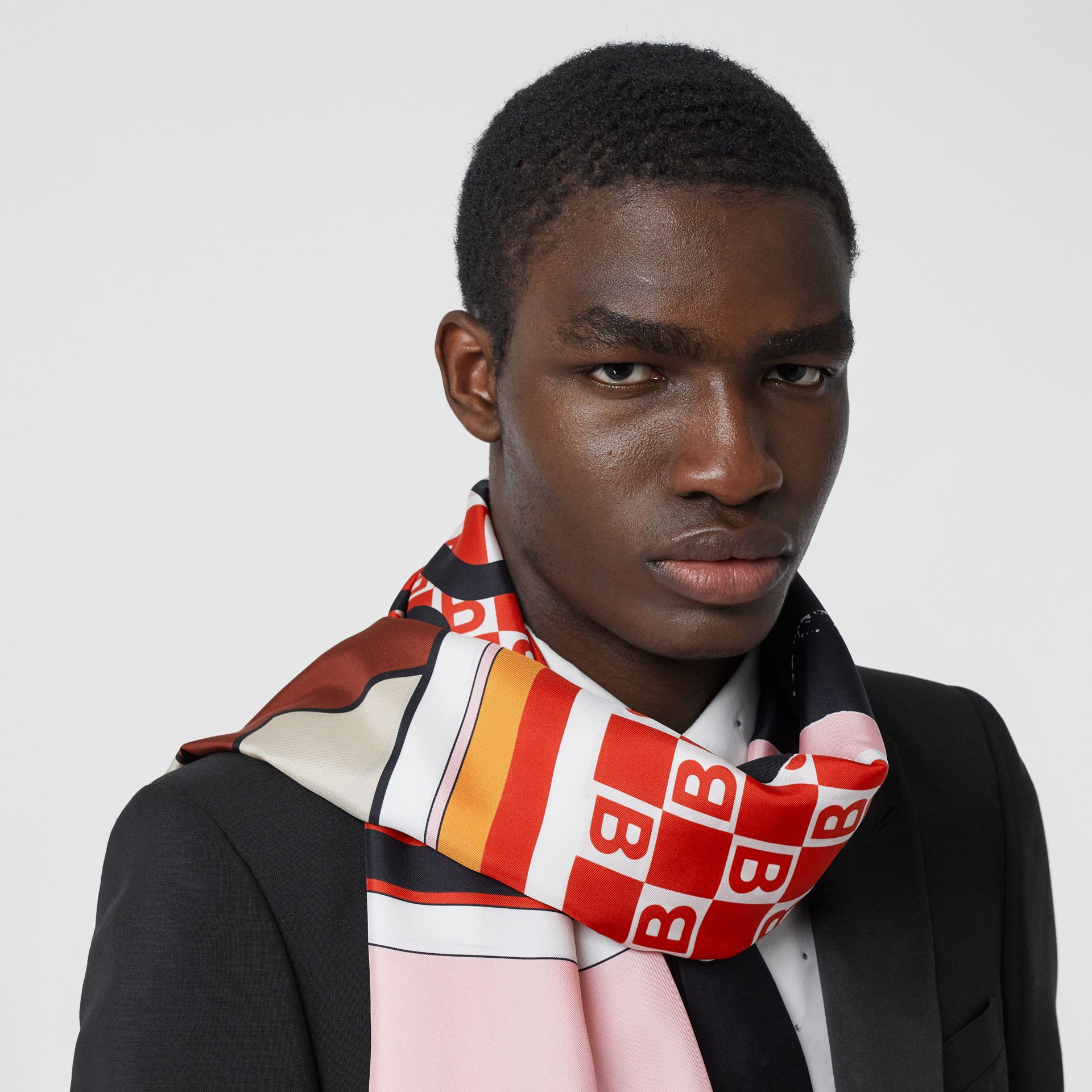 Montage Print Silk Scarf in Candy Pink | Burberry United Kingdom - gallery image 2