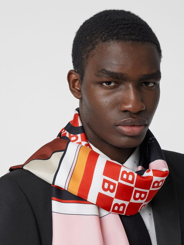 Montage Print Silk Scarf in Candy Pink | Burberry - cell image 2