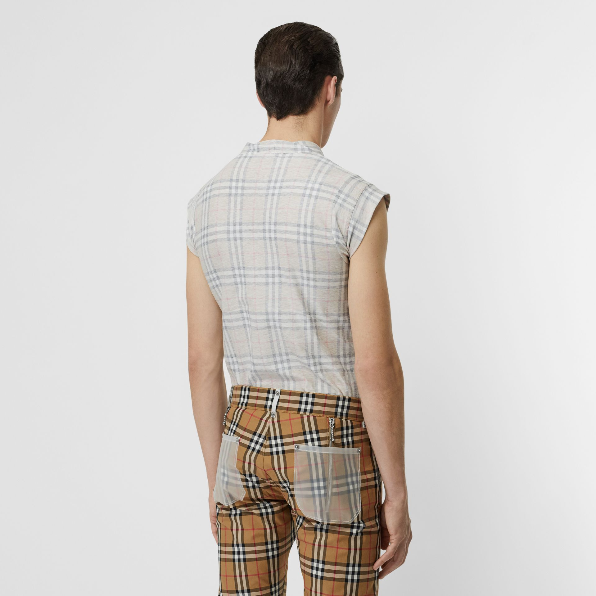 Zip Detail Vintage Check Cotton T-shirt in Antique Yellow | Burberry - gallery image 5