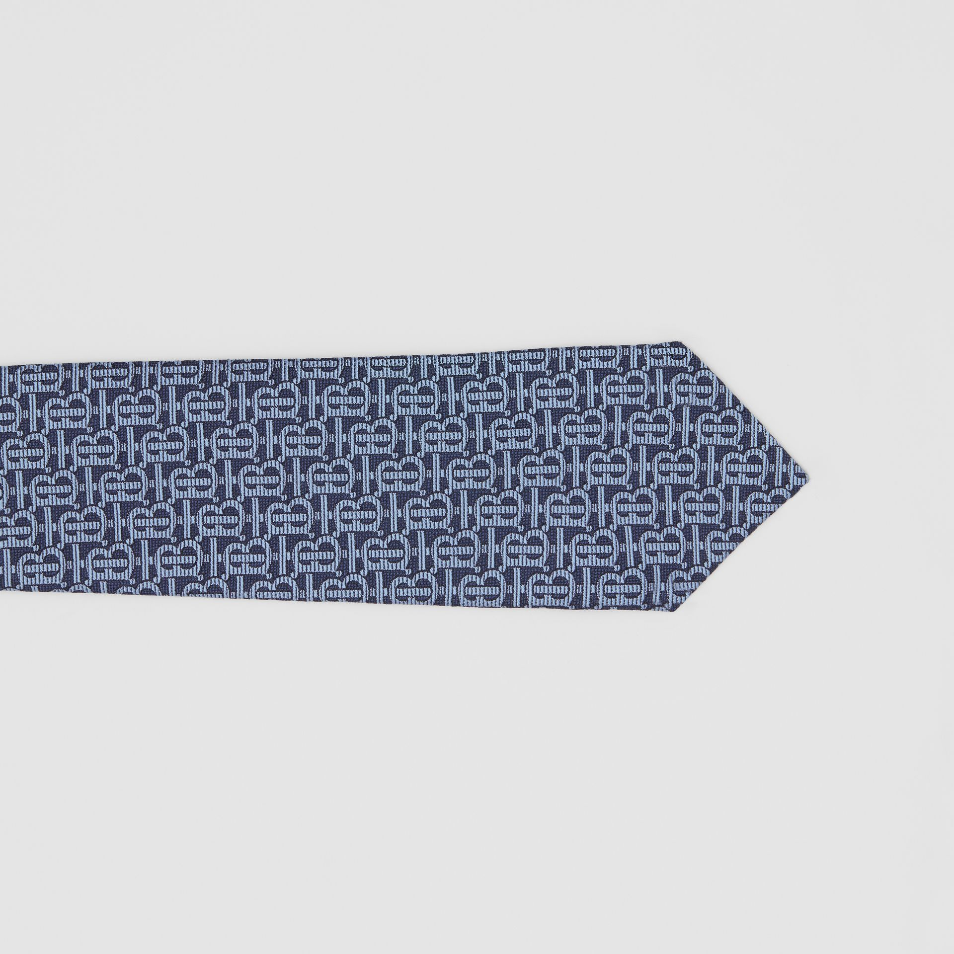 Classic Cut Monogram Silk Jacquard Tie in Bright Navy - Men | Burberry Australia - gallery image 1