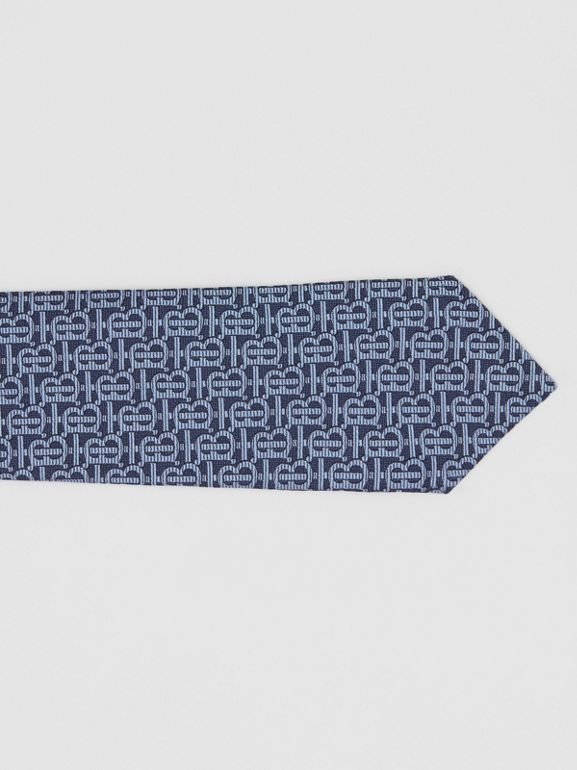 Classic Cut Monogram Silk Jacquard Tie in Bright Navy - Men | Burberry Australia - cell image 1