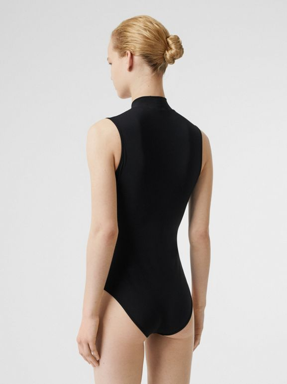 Crest Detail Swimsuit in Black - Women | Burberry - cell image 1