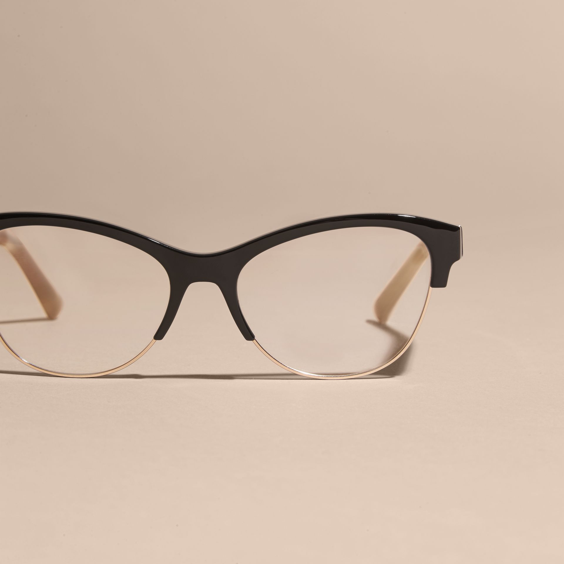 Black Half-rimmed Cat-eye Optical Frames Black - gallery image 3