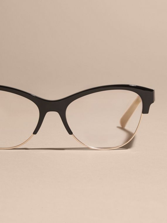 Black Half-rimmed Cat-eye Optical Frames Black - cell image 2