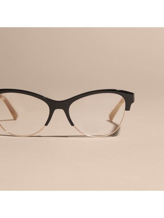 Half-rimmed Cat-eye Optical Frames Black Burberry