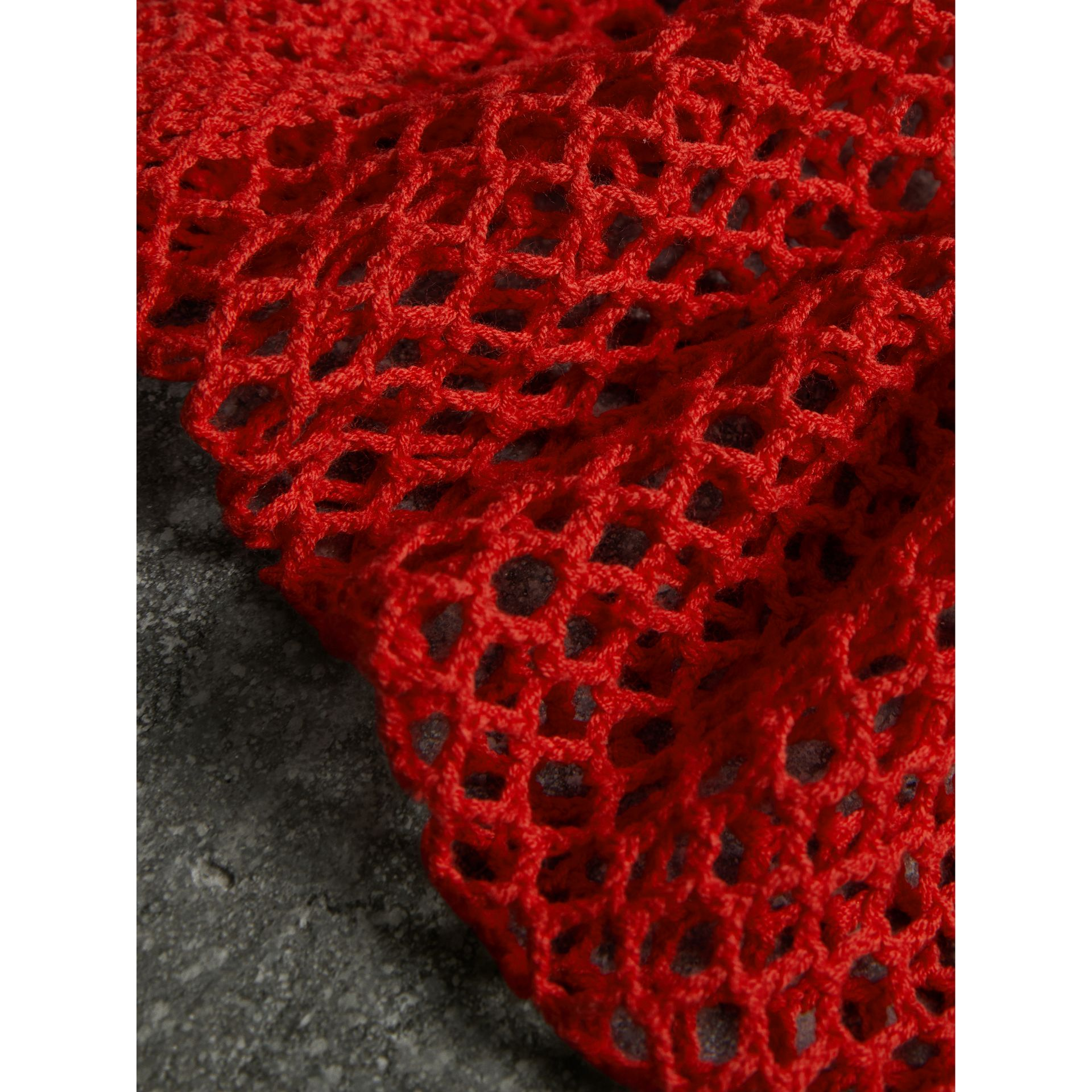 Crocheted Cotton Socks in Orange Red | Burberry - gallery image 1