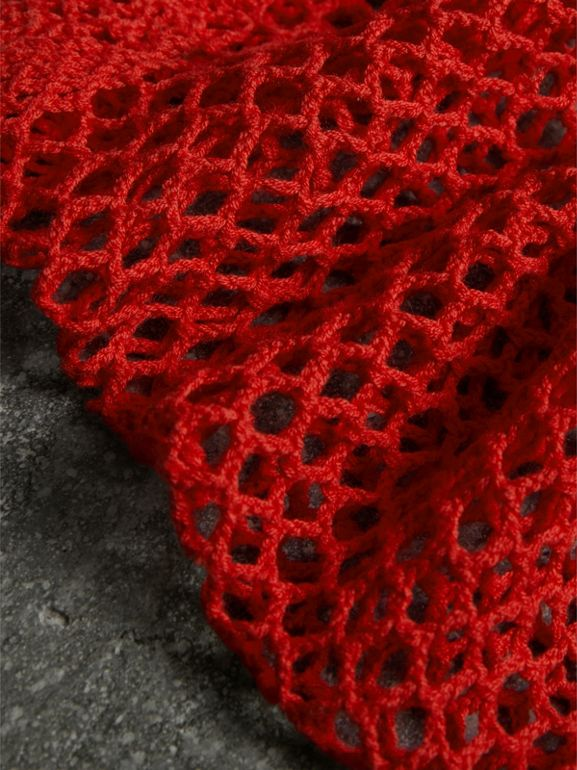 Crocheted Cotton Socks in Orange Red | Burberry - cell image 1