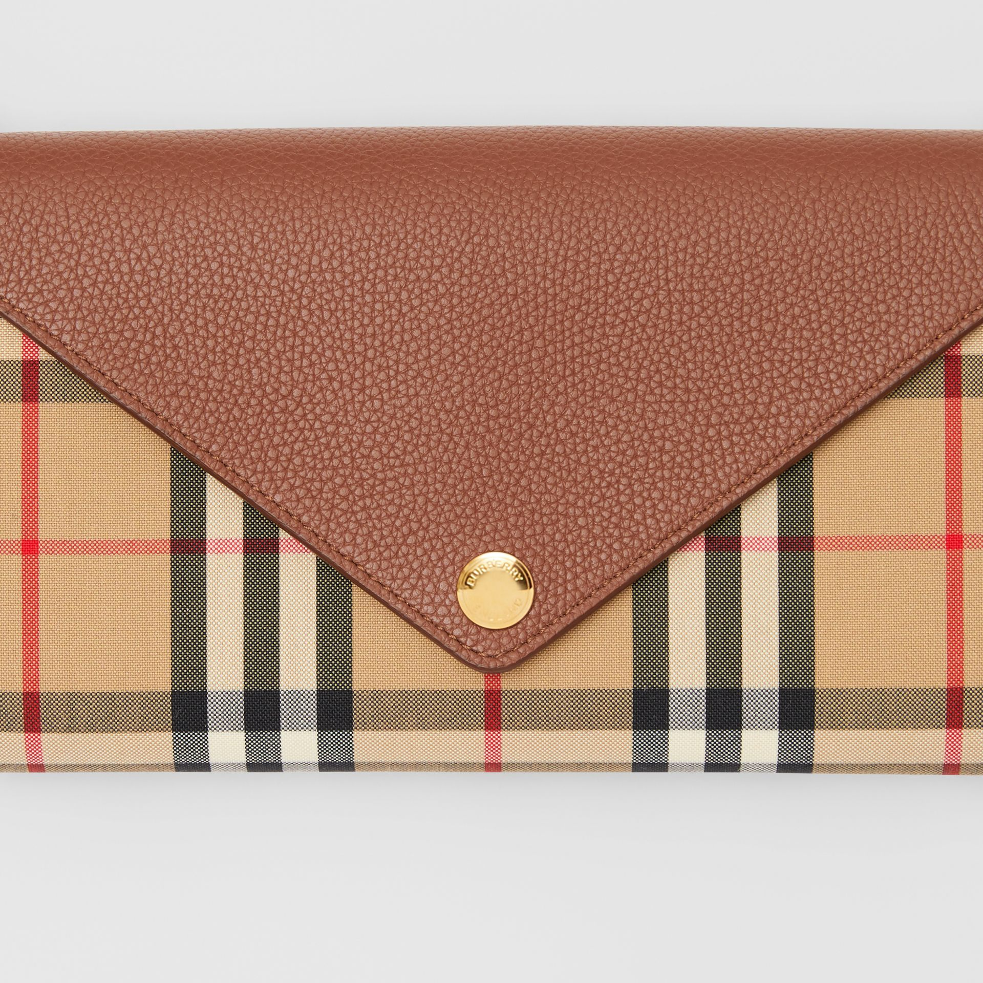 Vintage Check and Leather Wallet with Detachable Strap in Tan - Women | Burberry United Kingdom - gallery image 1