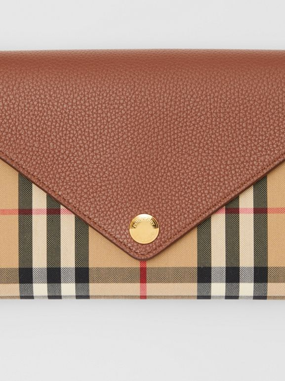 Vintage Check and Leather Wallet with Detachable Strap in Tan - Women | Burberry United Kingdom - cell image 1