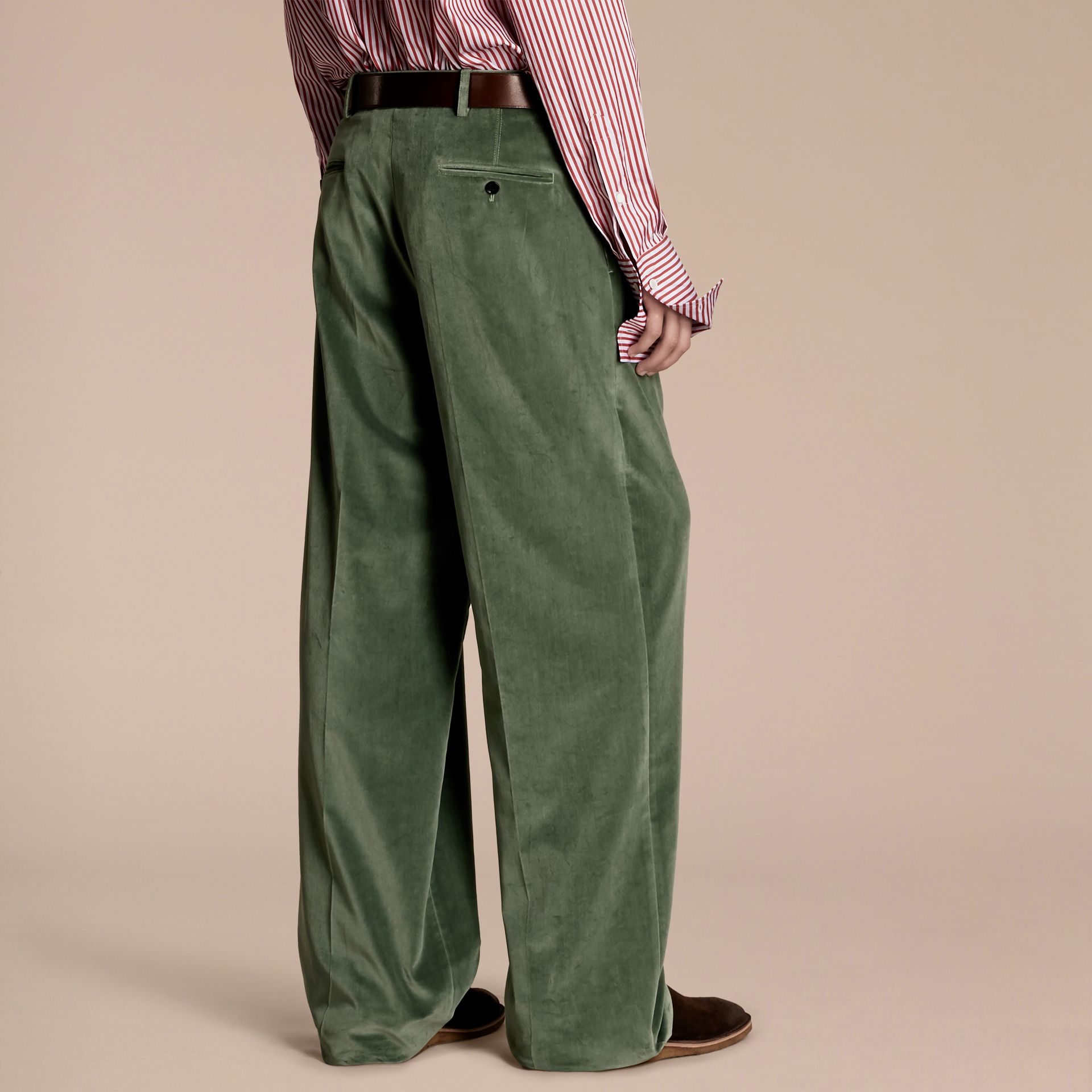 Pale eucalyptus Wide-leg Salt-washed Velvet Trousers Pale Eucalyptus - gallery image 3