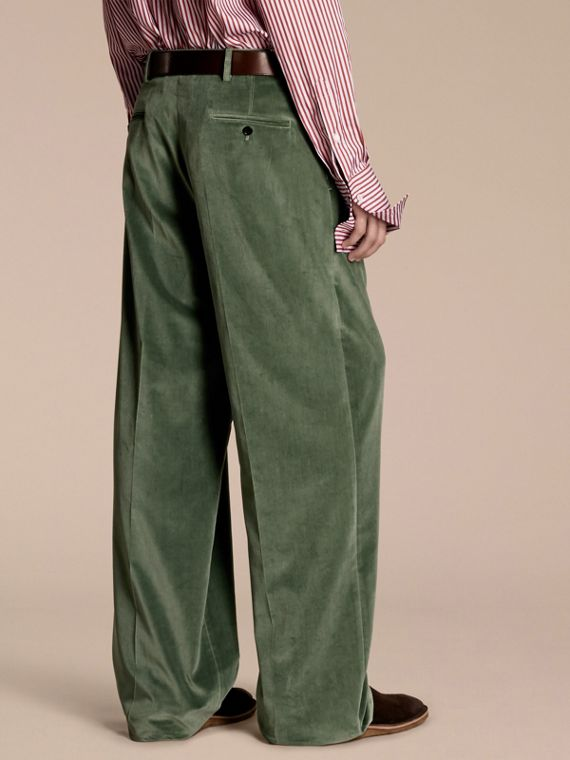 Pale eucalyptus Wide-leg Salt-washed Velvet Trousers Pale Eucalyptus - cell image 2