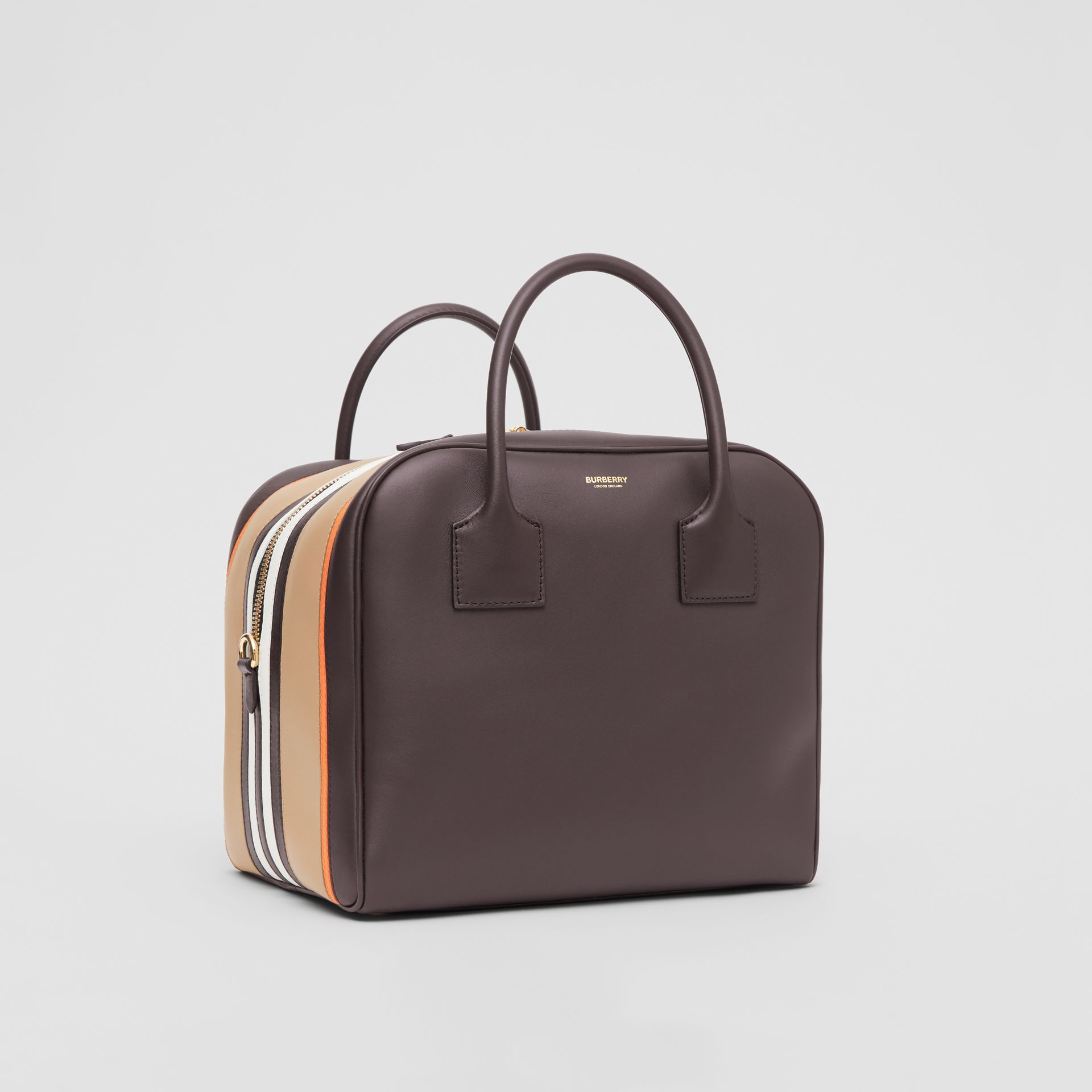 Medium Stripe Intarsia Leather Cube Bag in Coffee/pumpkin - Women | Burberry - gallery image 6
