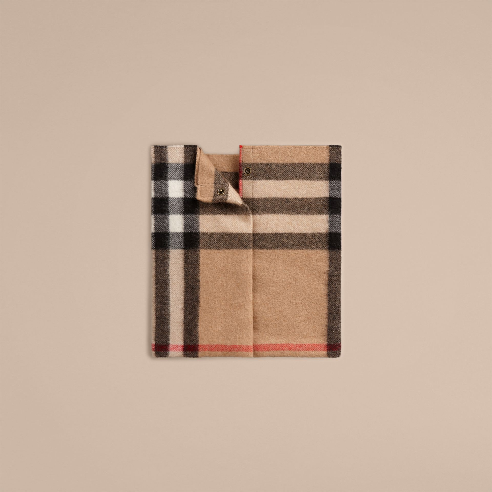 Camel check Exploded Check Cashmere Snood - gallery image 1