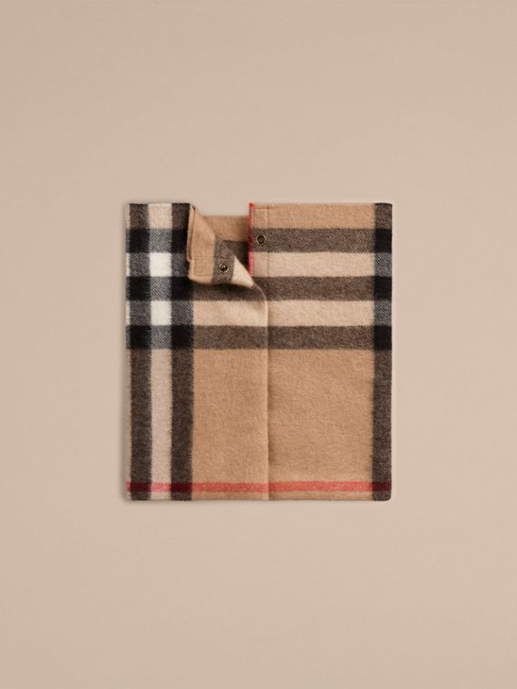 Exploded Check Cashmere Snood Camel