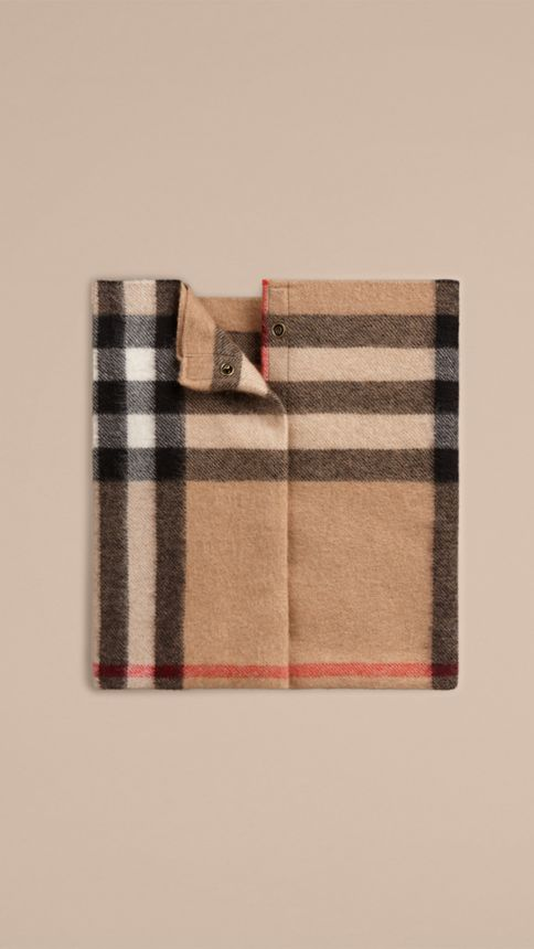 Camel check Exploded Check Cashmere Snood - Image 1