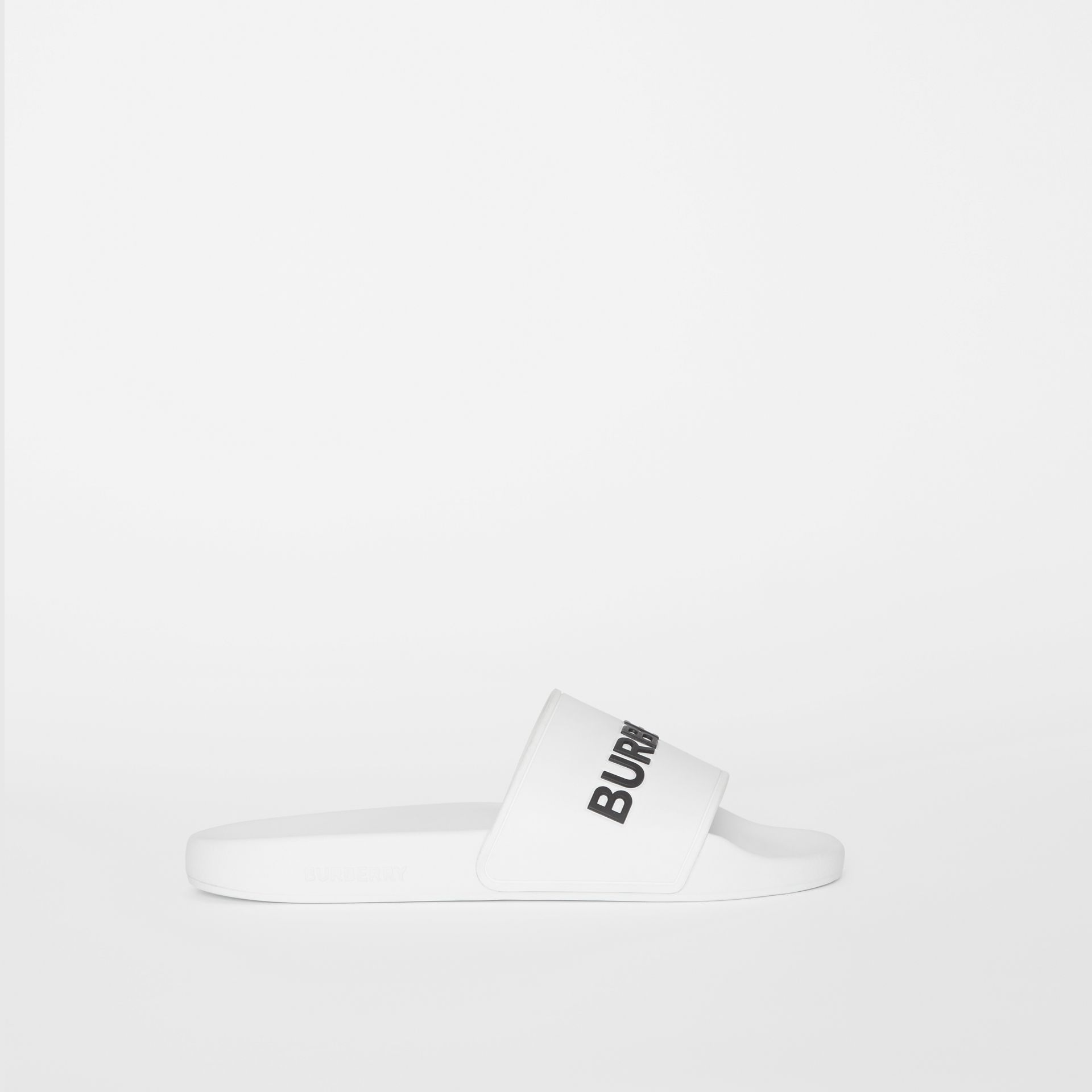 Kingdom Motif Slides in Optic White/black - Men | Burberry Canada - gallery image 4