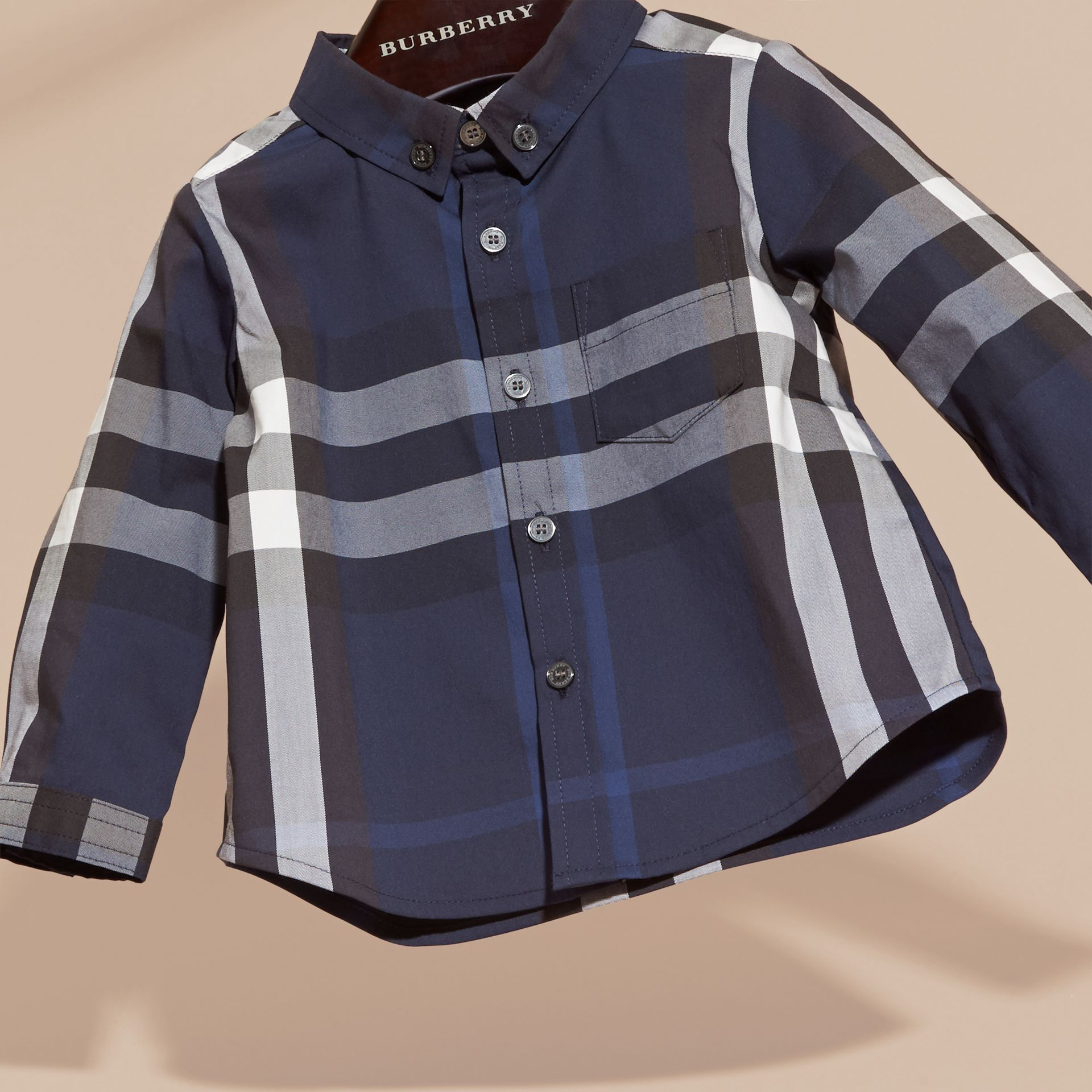 Indigo blue Check Button-Down Cotton Shirt Indigo Blue - gallery image 3