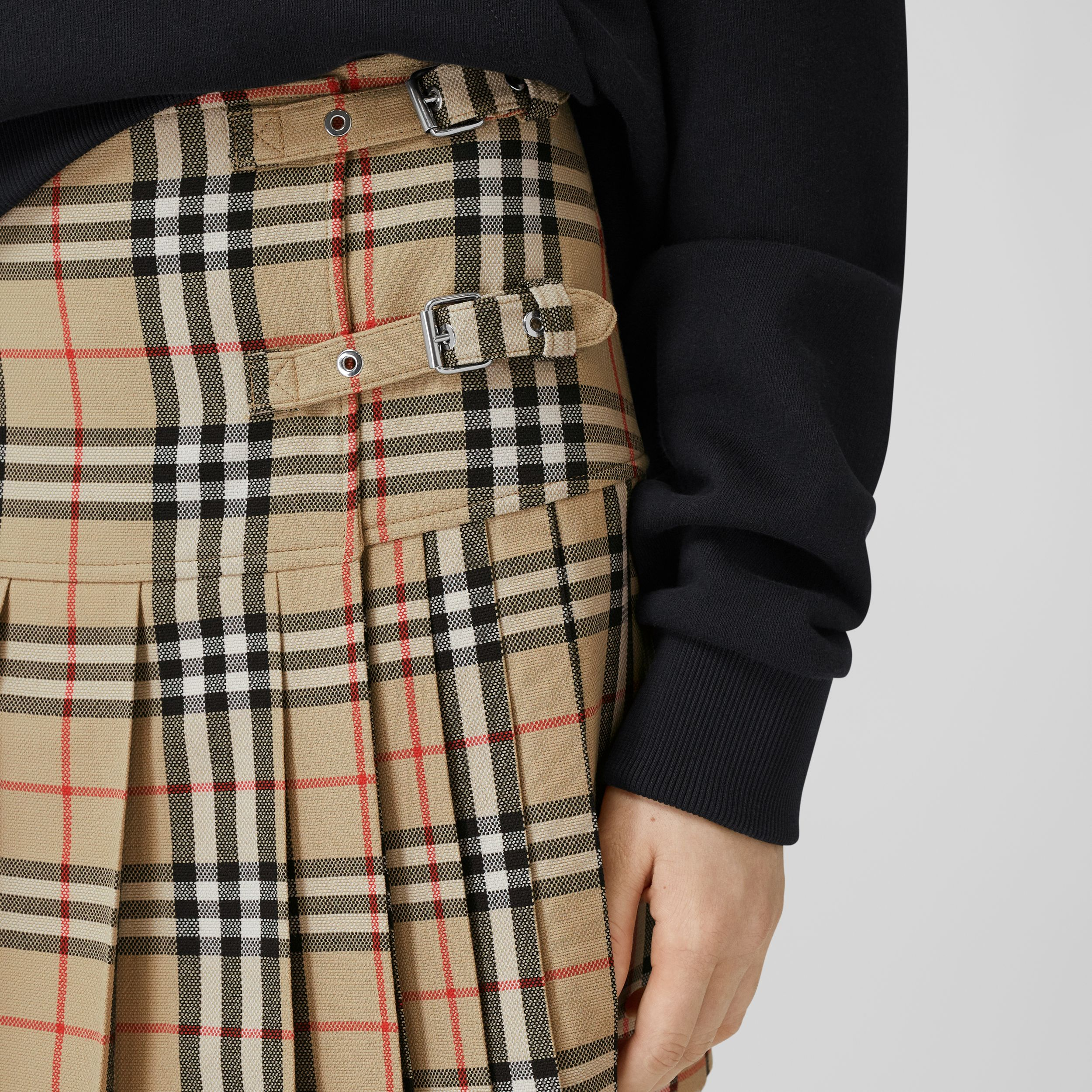 Vintage Check Wool Kilt in Archive Beige - Women | Burberry - 2