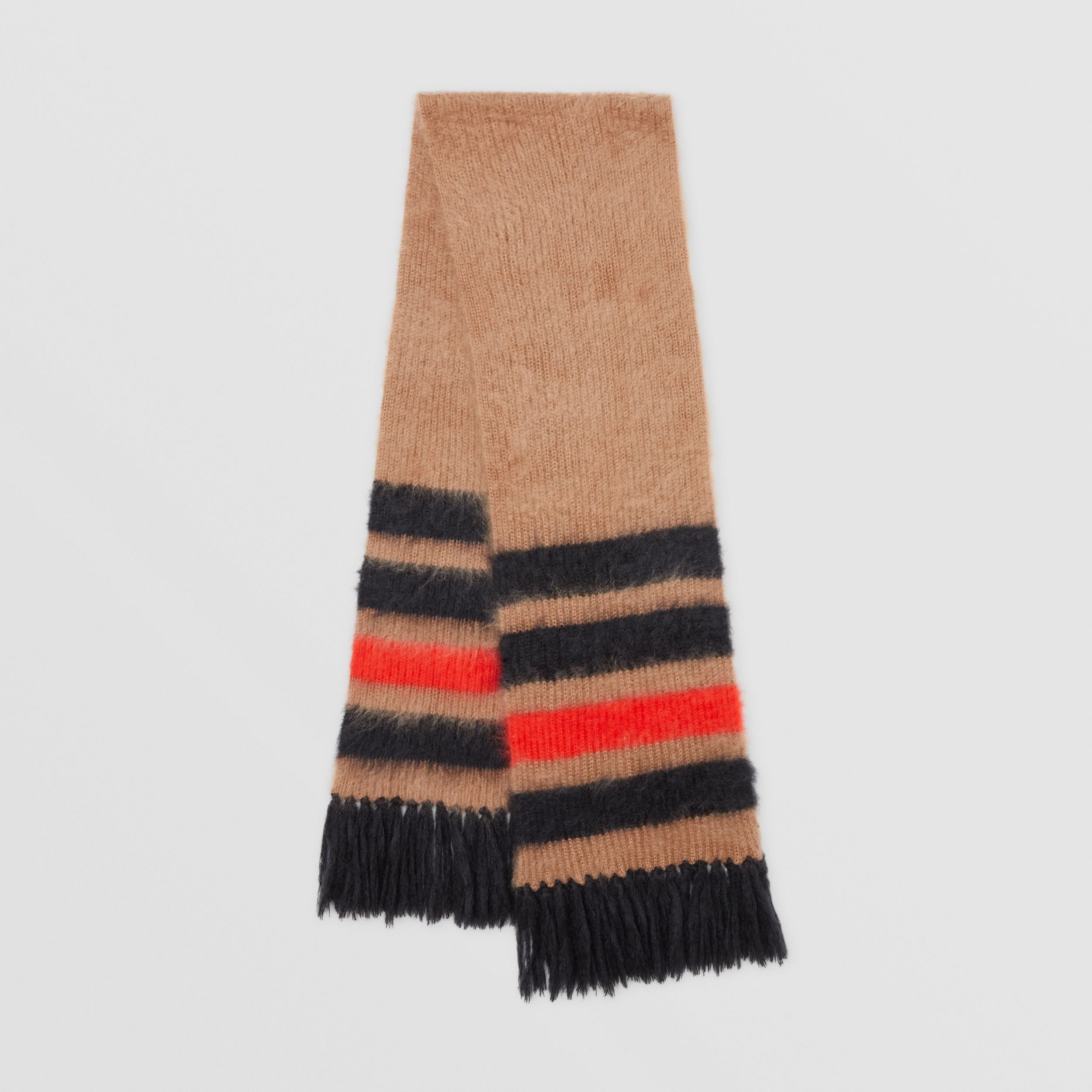 Striped Knitted Mohair Silk Scarf in Warm Camel | Burberry - 1