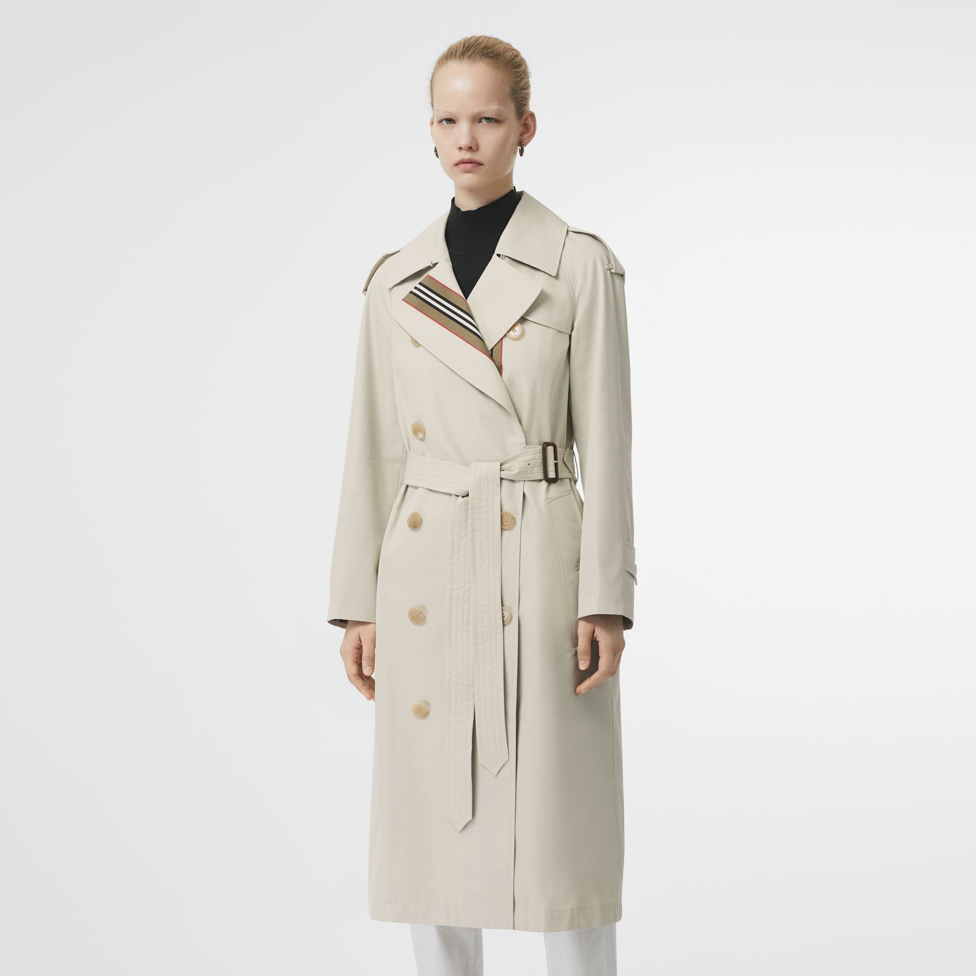 Striped Ribbon Cotton Gabardine Trench Coat in Stone - Women | Burberry - gallery image 7