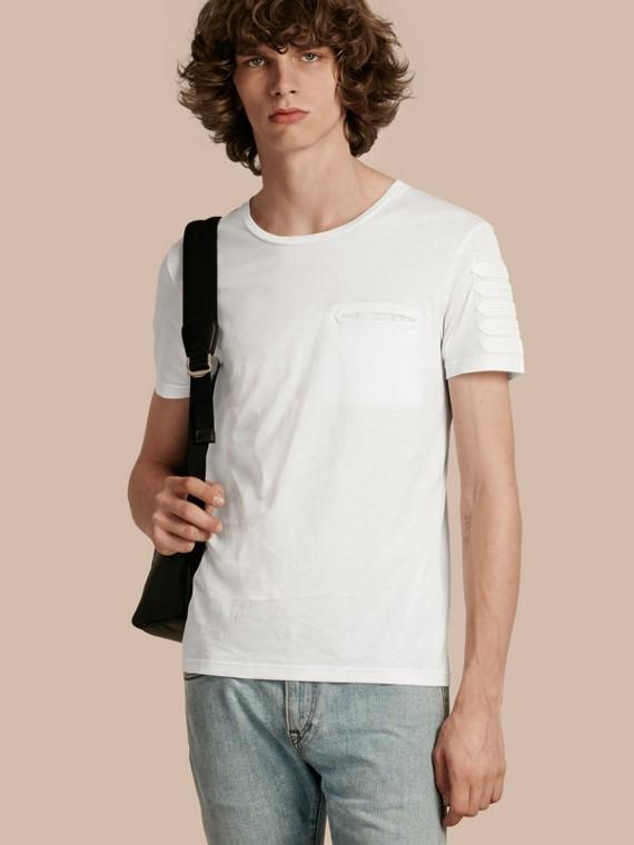 T-shirt en coton avec passementerie militaire Blanc